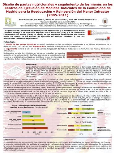 Diseño de pautas nutricionales y seguimiento de los menús en los Centros de Ejecución de Medidas Judiciales de la CM para la reeducación y reinserción del menor infractor (2005-2011)