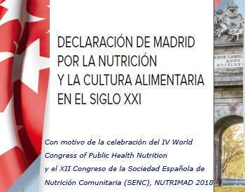 Declaración de Madrid por la Nutrición y la Cultura en el siglo XXI