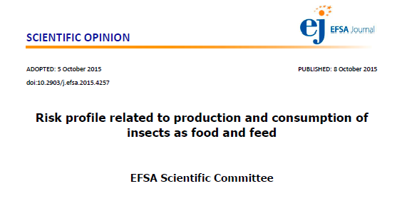 Risk profile related to production and consumption of insects as food and feed