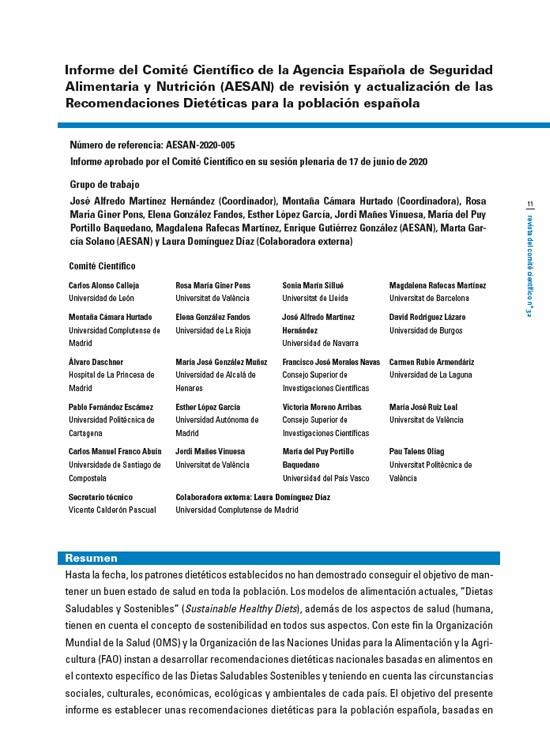 Informe del Comité Científico de la Agencia Española de Seguridad Alimentaria y Nutrición (AESAN) de revisión y actualización de las Recomendaciones Dietéticas para la población española
